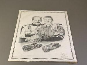 "Dale Adkins Art Dale Earnhardt and Dale Earnhardt Jr. Black/White 11""x14"" Photo"