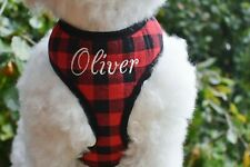 Custom Embroidered with Name Option - Red BUFFALO Plaid Soft DOG Cat Harness