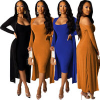 New Women Spaghetti Strap Solid Color Dress+Long Coat Casual Velvet Dress 2pcs