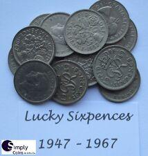 Lucky Silver Sixpences 1947- 1967 - Birthday/anniversary: BUY 2 get 2 FREE! P&P