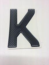 3D Gel Domed Digit Domed DIY Registration Reg Number Plate CARBON Letter K