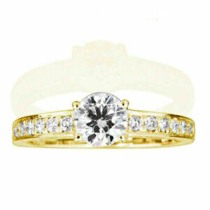 1 CT ROUND SHAPE W SIDE STONES CERTIFIED DIAMOND 14K YELLOW GOLD ENGAGEMENT RING