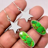 Star - Copper Green Turquoise - Arizona 925 Silver Earrings Jewelry 6750