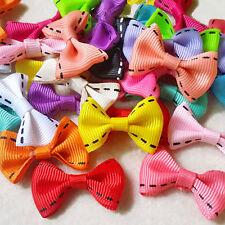 50pcs Mixed Colors Stitch Grosgrain Ribbon Bow Knot Handmade Appliques Craft