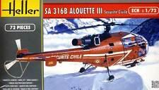 Heller Alouette III Sécurité Civile Rettungshubschrauber 1:72 Modell-Bausatz NEU