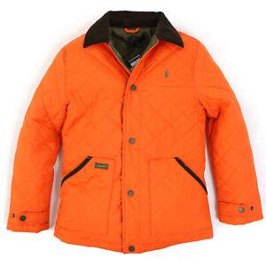 Polo Ralph Lauren Boy's Quilted Jacket Coat w/ Cord Collar - Orange -