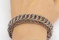 MEXICO 925 Sterling Silver - Vintage Circle Cluster Link Chain Bracelet - BT1707
