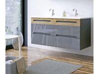 KITT Galaxie 120cm lavabo double badmoebelset Meuble de salle bain gris cd375
