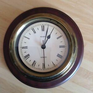 A Vintage 1970's Quartz Clock Metamec Nautical Porthole - Wood and Plastic and R