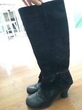 NAYA WOMEN'S BOOTS JUNIPER SUEDE LEATHER SIZE 8 M BLACK KNEE HIGH BOW FASHION