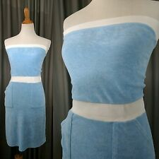 AMERICAN APPAREL Vintage Style Blue French Terry Strapless Tube Dress XS Romper