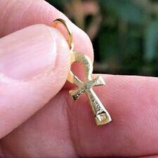 Beautiful 18K SOLID Yellow Gold ANKH Smooth pendant Egyptian Cross Charm Pendant