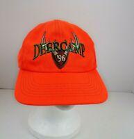 Vintage 1996 Deer Camp Hunting Hat Bright Orange Snapback Baseball Cap USA
