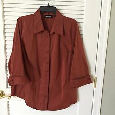 Avenue 3/4 Sleeve Button Front Rust Tunic Stretch Blouse, Size 22/24