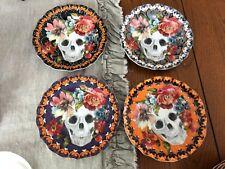 222 Fifth MARBELLA SKULL HALLOWEEN Appetizer Plate Set Of 4 Sugar Skull NEW