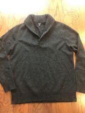 Men's J. Crew Dark Grey Cotton Shawl Collar Sweater - L