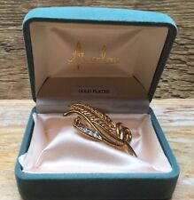 Vintage Avalon Jewellery Brooch/Leaf Design/Gold Plated/Boxed/Rhinestone/Retro