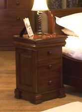 La Roque Dark Wood Lamp Table With 4 Drawers End Side Storage Solid Mahogany