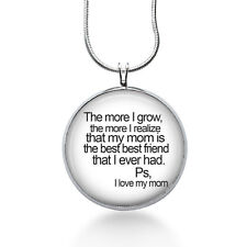 I Love My Mom Necklace, Quote Pendant, love, gifts for women,jewelry, necklace