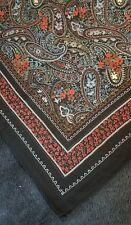 VTG Square Black Paisley Floral Patterned Scarf