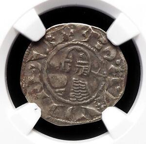 CRUSADERS, Antioch. Bohemond III Silver Denier 1163-1188 AD, NGC XF45