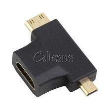 3 in 1 HDMI Female to Mini HDMI Male + Micro HDMI Male Adapter Connector Adopter
