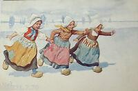 """""""Kinder, Holland, Trachten, Holzschuhe"""" 1912, sig. K. Feiertag ♥  (27538)"""