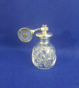 Classy Scent Atomiser Bottle w Squeeze Pump 1953 B'ham HM Sterling Silver Collar