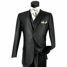 VINCI Men's Black Shiny Sharkskin 3pc 2 Button Classic Fit Suit NEW