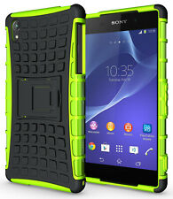 NEON LIME GREEN GRENADE GRIP TPU SKIN HARD CASE COVER STAND FOR SONY XPERIA Z2