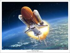"""Space Shuttle """"Endeavour Flight"""" Art Print - 18"""" x 24"""""""