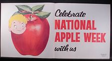 1950s  NATIONAL APPLE WEEK  SIGN, 30 INCHES WIDE, GREAT GRAPHICS, LITHO IN USA