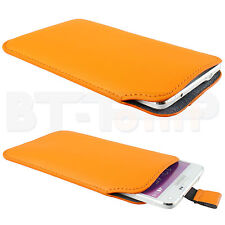 Slim Etui orange Samsung Galaxy Note 3 4 N910F Cover Pull Case Hülle Tasche