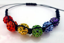 Macrame & Shamballa Bracelet Bright Colourful Rainbow - Unisex Gay Pride LGBT