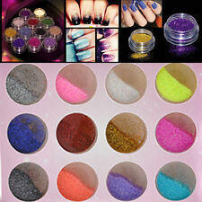 12 Pcs Multi-Color Glitter Dust Powder Set for Nail Art Tips Decor Crafts DIY DH
