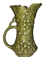 "Vintage Green McCoy USA Pottery Grape Pattern Pitcher Vase #641 9.25"" tall"