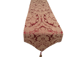 """90"""" Red/Antique Gold Silk Damask table runner pointed and tassels Handmade UK"""