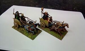 28mm ANCIENT CELT CHARIOTS X2 FULLY PAINTED VICTRIX HAIL CAESAR ROMAN