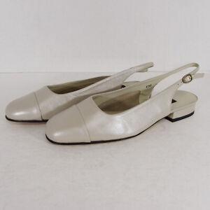 Vaneli Womens Friedel Slingback Flat Shoes, Sand Pearl Nappa, US 6