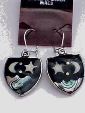 MEXICAN SILVER ALPACA 20mm.DROP EARRINGSwithABALONE MOON & STAR DESIGN £4.99 NWT