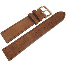 18mm Fluco Rust Brown Suede Leather ROSE Gold Buckle German Watch Band Strap