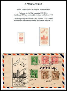 1930's A Phillips 'Air Mail Specialist' Advertising Labels by Chas Sigrist