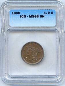 1855 Braided Hair Half Cent. ICG Graded MS63 BN. Lot #2228