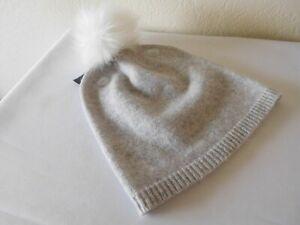 New TAHARI 100% 2 Ply Cashmere Beanie Hat with Fur Pom Pom & Ribbed Edge