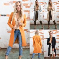 2017 Women's Slim Long Coat Jacket Trench Windbreaker Parka Outwear Cardigan ##
