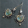 Vintage Boho 925 Silver Moonstone Hook Ear Dangle Earrings Women Wedding Jewelry