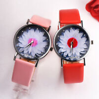 Women Lotus Flower Dial Analog Quartz Watch PU Leather Band Wristwatch Gift