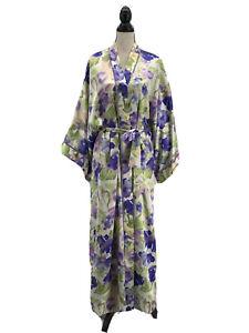 Natori Classics Womens Satin Kimono Robe Purple Floral Large Full Length Vintage