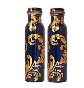 Printed Copper Bottles 1 Litre, Flower Design, Drinkware, Royal Blue, Set of 2
