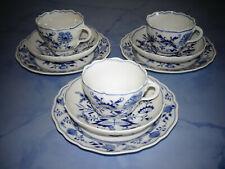 Meissen Zwiebelmuster Porzellan 3 x schönes Kaffeegedeck 3-tlg. ( SEHR GUT )